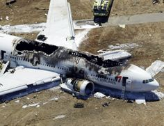 This aerial photo shows the wreckage of the Asiana Flight 214 airplane after it crashed at San Francisco International Airport on July 6.