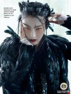 """Ji Hye Park featured in the Vogue Korea editorial """"Noir & Blanc"""" from January 2013 , showing Gucci"""