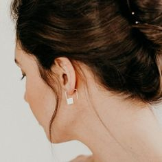 23c088f61 Square Spiral Hoops, Tiny Gold Geometric Earrings, Minimal Square Hoops -  Cubic Hoops