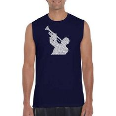 Los Angeles Pop Art Men's Sleeveless T-Shirt - All Time Jazz Songs, Size: Small, Blue