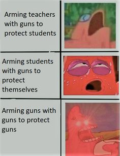 I'm down with the first one!, (Not so much the second or third lol) although all the teachers should be allowed to bear arms, they all should go through some kind of training...