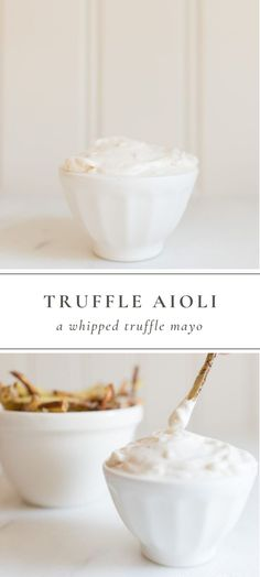 Truffle Aioli is the best way to enhance even the most basic recipes like sandwiches fish asparagus and more! Truffle Mayo is also great for drizzling or dipping fries and blending into dips. Truffles Easy No Bake, Diy Truffles, Cake Truffles, Chocolate Truffles, Truffle Sauce, Truffle Fries, Truffle Recipe, Truffle Pizza, Truffle Oil