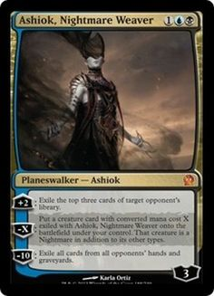 Ashiok, Nightmare Weaver Magic the Gathering Theros mtg card Mtg Planeswalkers, Eldritch Moon, Mtg Art, Pokemon, Magic The Gathering Cards, Alternative Art, Magic Cards, Wizards Of The Coast, Deck Of Cards