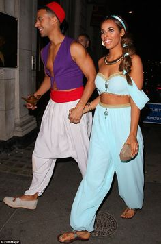 Rochelle and Marvin Humes wow as Aladdin and Jasmine at Disney bash Jasmine Costume Women, Jasmine And Aladdin Costume, Jasmine Halloween Costume, Princess Jasmine Costume, Aladdin Princess, Halloween Outfits, Cute Couple Halloween Costumes, Best Couples Costumes, Halloween Kostüm