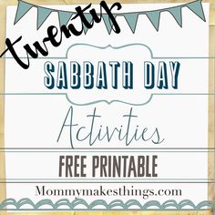 Mommy Makes Things : Sabbath Day Activities-FREE Printable!