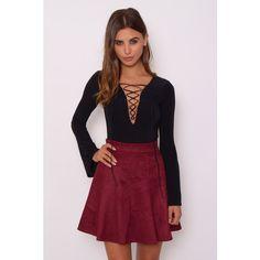 Rare London Wine Suedette Skater Skirt ($55) ❤ liked on Polyvore featuring skirts, rare london, circle skirt, skater skirt and flared skirt