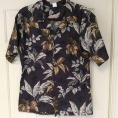 0784df17c Palmwave Hawaiian Casual Shirt Mens Sz Med Charcoal Grey Leaf Print Short  Sleeve #Palmwave #Hawaiian