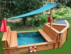 sandbox-of-wood-ship-model Diy Furniture Plans, Diy Outdoor Furniture, Garden Furniture, Kids Outdoor Play, Backyard For Kids, Wooden Sandbox, Garden Huts, Backyard Playground, Wooden Garden
