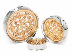 These rose gold-plated double flare plugs from our Antiquities Synthesis line of plugs have a high-polished stainless steel tunnel with intricate Rose Gold-plated insert. Available in 22mm - 40mm. Price per 1. Makes a great holiday gift, birthday present, or treat for yourself!