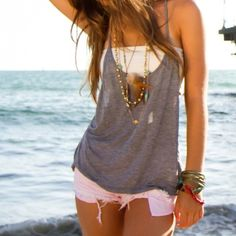 white bandeau+gray tank+baby pink shorts