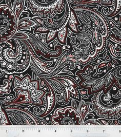 Paisley Black White Red & Keepsake Calico Fabric at Joann.com, brings in the red accent