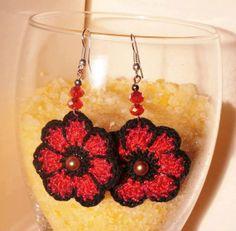 Flower Crochet macrame Earrings 100% cotton.