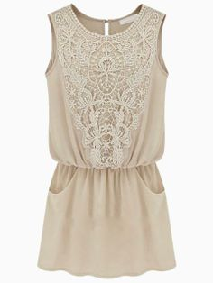 Beige Sleeveless Dress With Lace Detail