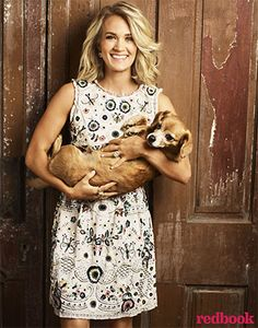 Carrie Underwood in Redbook Magazine November 2016, wearing a Needle & Thread dress. #style #celebstyle #magazine #needle&thread