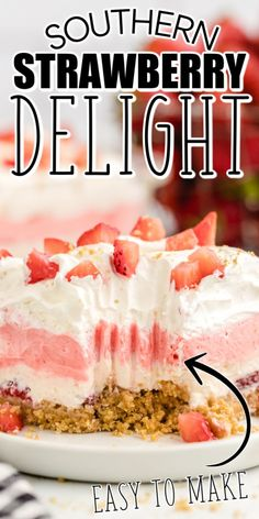 This Strawberry Delight is a luscious dessert of strawberries, cream cheese, gelatin, and whipped topping. It's easy, no-bake, and delicious! Summer Desserts, No Bake Desserts, Easy Desserts, Delicious Desserts, Yummy Food, Pudding Desserts, Layered Desserts, Cold Desserts, Strawberry Dessert Recipes