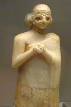 Gypsum statue of a woman, Early Dynasty III 2400 BCE Mesopotamia