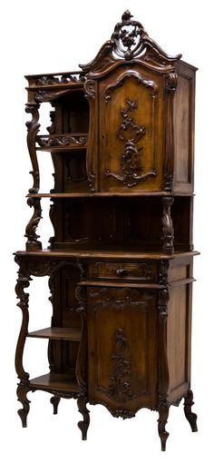 Rococo Revival Carved Walnut Cabinet.
