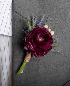 2h flowers Mulberry Boutonniere Flower Wedding Accessory | Nearly Newlywed
