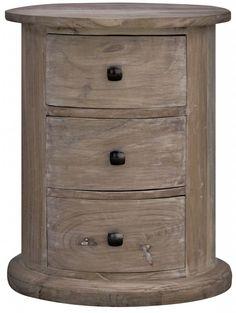 Solid Wood Oak Round Drum Chest Of Drawers Bedside Drawer Livingroom Furniture