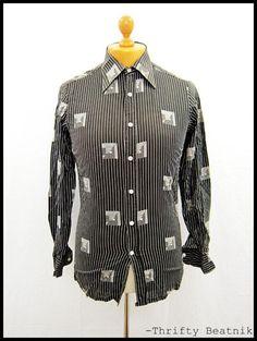 Vintage 1970s 70s Stripy Striped Indie Disco Shirt XS-S   eBay