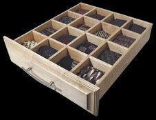 sock and/or tie drawer to keep you organized.