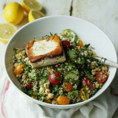 Tabouleh Quinoa Salad with Fried Feta Cheese... say what? Sorry, we were staring at the fried feta. Get this lovely recipe from @ChefBillyParisi  If you skip the cheese, totally vegan