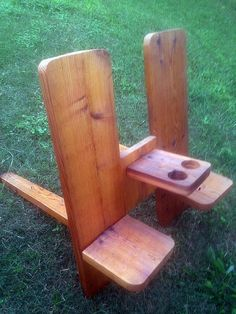 Items similar to Double Plank Chair with Arm Rest/Drink Holders on Etsy Scrap Wood Projects, Easy Woodworking Projects, Outdoor Projects, Furniture Projects, Home Projects, Woodworking Joints, Woodworking Videos, Pallet Projects, Diy Outdoor Furniture