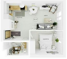 Small Apartment Layout, Small Studio Apartments, Studio Apartment Design, Apartment Floor Plans, Small Apartment Plans, Sims House, Small House Plans, House Floor Plans, Tiny House Design
