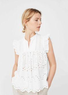 Beachwear for Women White Cotton Blouse, Cotton Blouses, Cotton Dresses, Mode Boho, Lace Tops, Blouse Designs, Blouses For Women, Beachwear, Fall Outfits