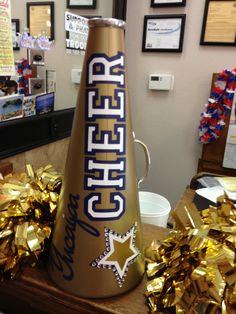 Cheer Megaphone Design Ideas <b>cheerleading</b> birthday… Cheerleading Megaphones, Cheer Megaphone, Football Cheer, Cheer Coaches, Cheer Mom, Team Cheer, Cheer Stuff, Summit Cheer, Cheers
