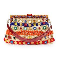 DOLCE & GABBANA Vanda embellished raffia clutch.