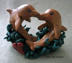 Polymer Clay Dolphin Kiss by trinasclaycreations on Etsy, $45.00