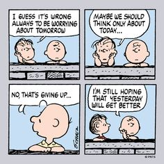 Charlie Brown and Linus talk about tomorrow.