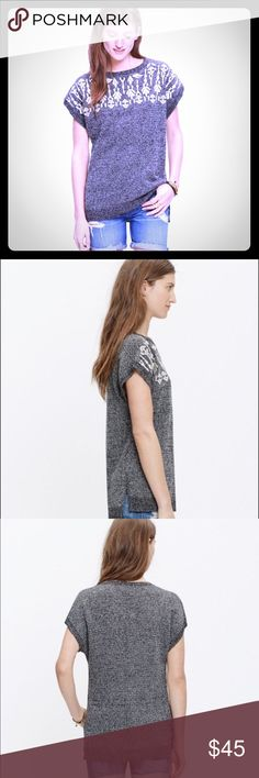 Madewell Embroidered Tunic Soft marbled grey with white embroidery along the collar. It's drapery fit and side slits give this tunic top a casual but fun feel. Madewell Tops Tees - Short Sleeve