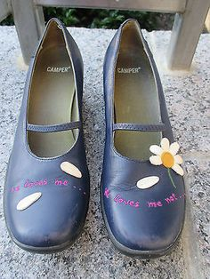 """Camper Blue Leather  Mary Jane Twins Daisy """"He Loves Me"""" Shoes 38"""