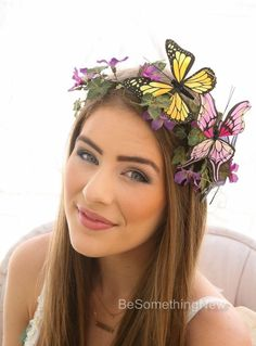 Your place to buy and sell all things handmade Butterfly Headpiece Mother Nature Halloween by BeSomethingNew Nature Halloween Costume, Mother Nature Halloween, Halloween Flowers, Halloween Dress, Halloween Makeup, Halloween 20, Halo Headband, Wedding Headband, Costume Makeup