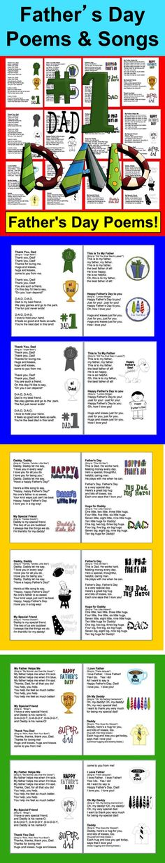 $ Father's Day Songs/Poems ★ 13 Father's Day songs/poems sung to popular tunes ★ 2 versions: color and black and white for students to color. ★ I have included larger versions of the graphics so you can make large charts of some or all of the poems.