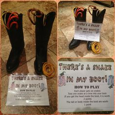 Game for cowboy party Set large size boots a few paces(increase distance for adults) in front of players and toss fake snakes(from dollar store) and try to get them into the boot. If the boots won't hold a good open shape slip a plastic cup into the boot. Great game for inside or out.  Variations can be to play with the boots up against a wall(easy) or a few inches from a wall.  I got the old large boots from a thrift store.