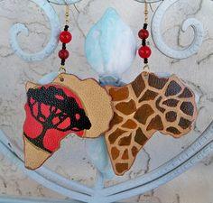 African Earrings Vegan leather earrings Handpainted by Georgiasita, $25.00