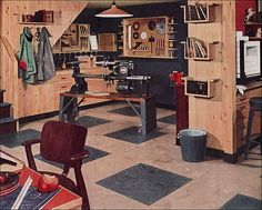 1951 Armstrong Basement    Published in American Home.    My dad had a Shop-Smith similar to this one and he would have love a room set up like this.