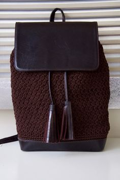 Handmade crochet with original leather Backpack