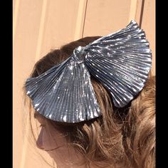 Vintage 80's Huge Silver Gothic Bat Wing Hair Bow Excellent condition. Comes from a smoke free home. Lolita. Dolly. Party. Dancer. Funky. Feminine. Girly. Poof. Bell. Poofy. Wild. Boho. Gypsy. Princess. Romantic. Party. Holiday. Vixen. Cosplay. Dress up. Shimmer. Shine. Luster. Crinkle. Wrapping. Big Vintage Accessories Hair Accessories