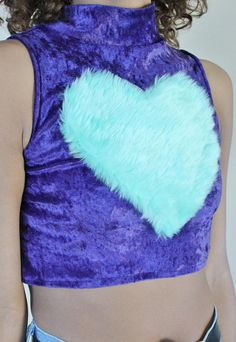 SALE 50% OFF Kawaii Velvet Faux Fur Crop Top by DustyandDylan