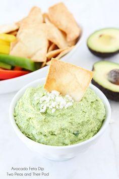 Easy Avocado Feta Dip on www.twopeasandtheirpod.com Only takes 5 minutes to make!