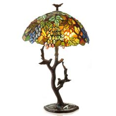 """24.25"""" H Stained Glass Bird's Haven Table Lamp