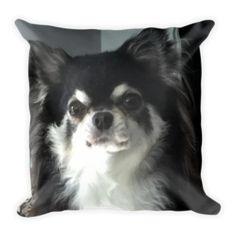 """Mexico"" Adorable Long Coat Chihuahua Throw Pillow"