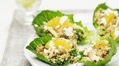 Lettuce cups with quinoa and goat's cheese salad