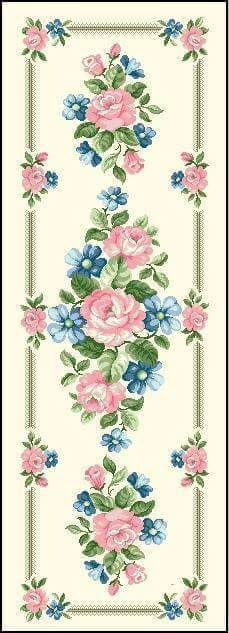 Cross Stitch Rose, Cross Stitch Flowers, Hobbies And Crafts, Diy And Crafts, Brother Innovis, Pink And Blue Flowers, Bargello, Corner Designs, Damask