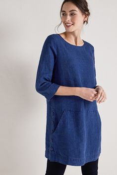 5be602ba62c Foresail Linen Indigo Tunic - Seasalt £69.95 Fabric Covered Button, Covered  Buttons, Smock
