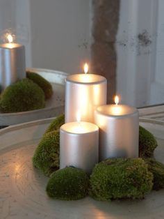 Stylish Silver Pillar Candles